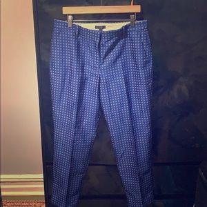 Blue Patterned Pencil Pant